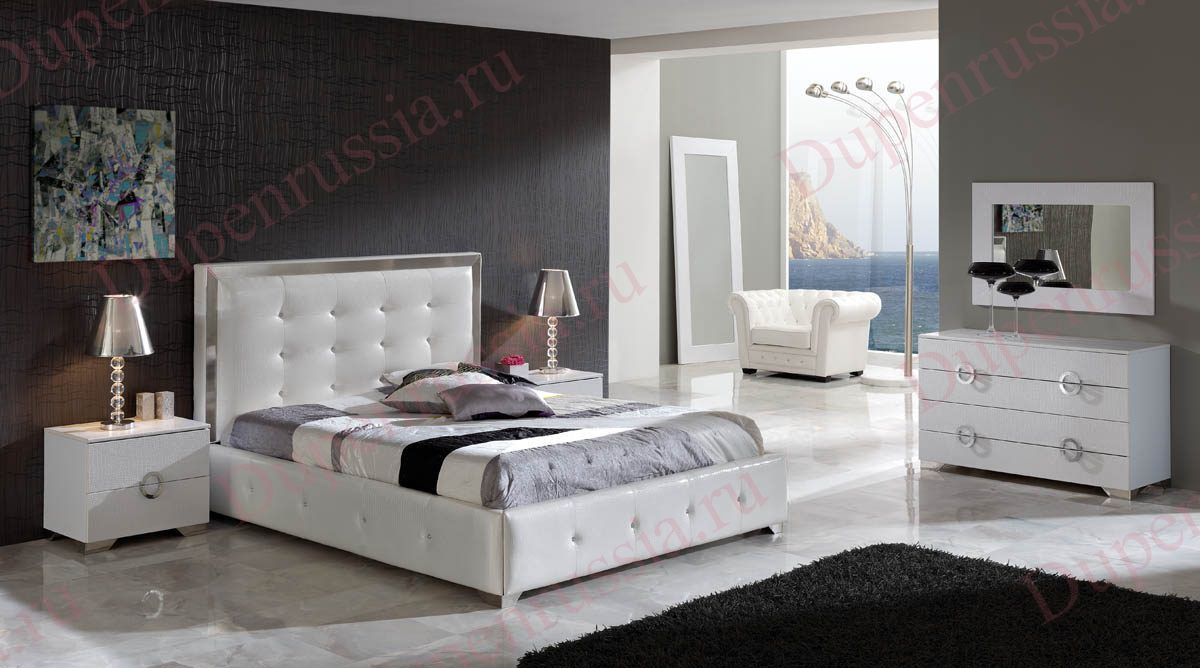 Кровать DUPEN 624 COCO белая, комод DUPEN C-97 белый, Тумба прикроватная DUPEN М-97 белая, Зеркало вертикальное DUPEN Е-97 белое, зеркало горизонтальное DUPEN Е-98 белое