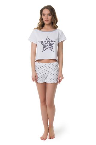Белая пижама женская со звездами с топом и шортами