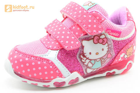 Светящиеся кроссовки для девочек Хелло Китти (Hello Kitty) на липучках, цвет розовый, мигает картинка сбоку. Изображение 1 из 15.