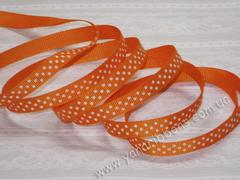 Лента репсовая Оранжевая в горошек ширина 9 мм