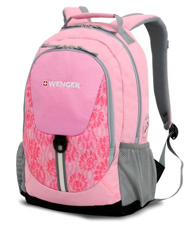 Качественный с гарантией прочный школьный рюкзак на молнии розовый с серым объёмом 20 л из полиэстра 600D с боковыми карманами для бутылок из эластичной сетки, эргономичной ручкой, системой поддержки спины Comfort Fit и дополнительным отделением с карманом для МР3-плеера и отверстием для наушников WENGER 31268415