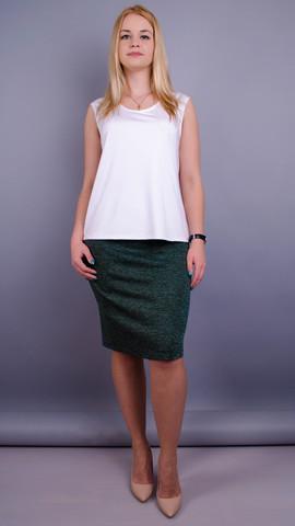 Пион ангора. Офисная юбка больших размеров. Изумруд.