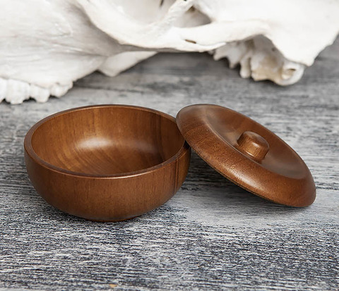 Деревянная чаша для бритья с крышкой