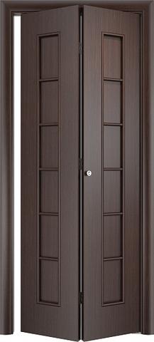 Дверь складная Верда С-12 (2 полотна), цвет венге, глухая