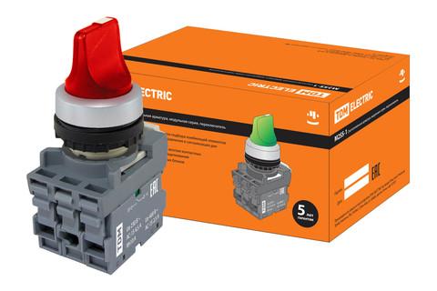 Переключатель на 3 положения с фиксацией M3SS1-21R короткая ручка(LED) d22мм/220B 1з+1р красный TDM