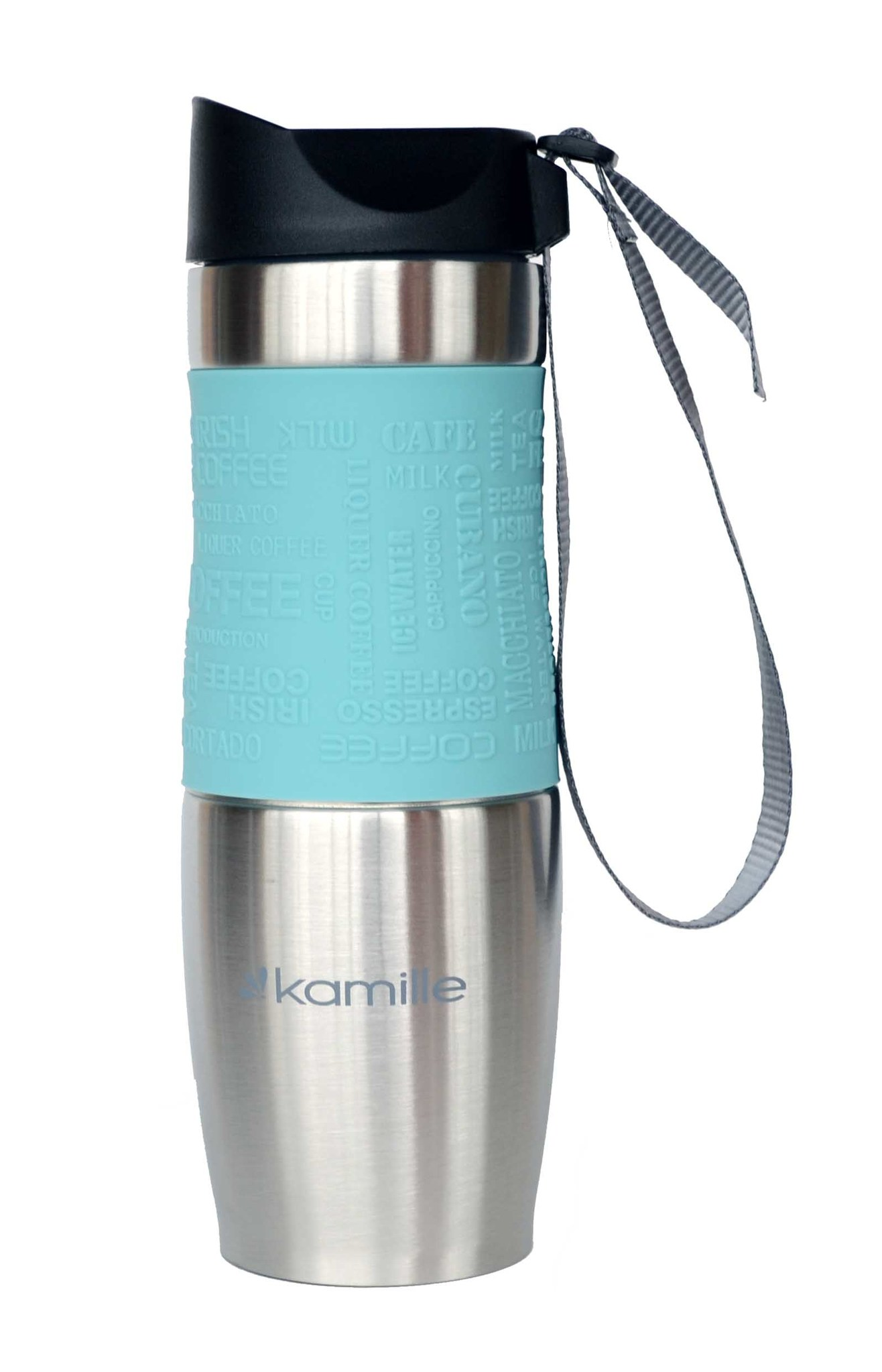 Термокружка Kamille c TPR и ремешком 480 мл. (хром) голубая
