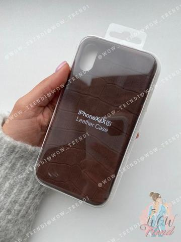 Чехол iPhone  XS Max Leather case full /brown/