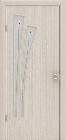 Дверь Фрегат ПО-011Ф, матовое с фьюзингом, цвет беленый дуб, остекленная