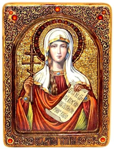 Инкрустированная живописная икона Святая мученица Татиана 29х21см на натуральном кипарисе в подарочной коробке