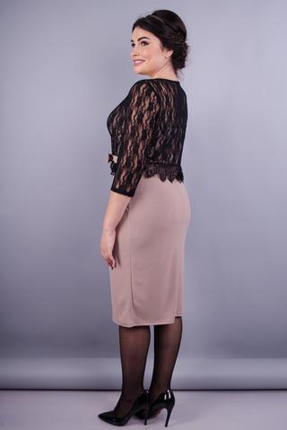 Романтика. Неперевершена сукня плюс сайз. Беж.