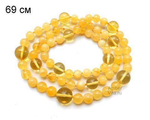 бусы из янтаря медовые с лимончиком