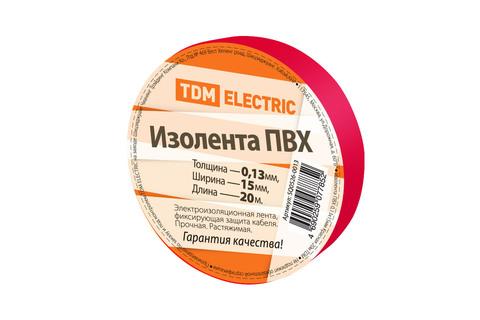 Изолента ПВХ 0,13*15мм Красная 20м TDM