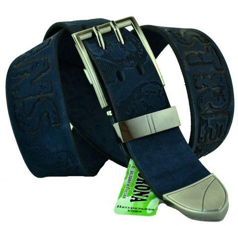 Мужской джинсовый ремень российского производства синий 40 мм из натуральной кожи с надписью и портретами 40Corona-047
