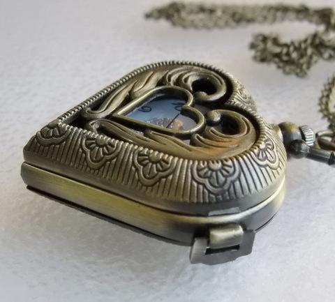 """Часы на цепочке """"Сердце"""" (цвет - античная бронза) 53х41х16 мм"""