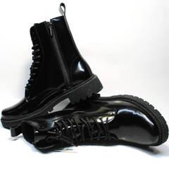Высокие ботинки на шнуровке женские на толстой подошве кожаные с мехом Ari Andano 740 All Black.