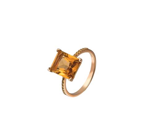 Кольцо с коньячным кварцем в позолоте