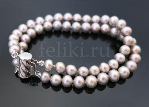 жемчужный браслет двухрядный_серый жемчуг шарик_фото
