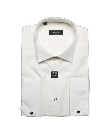 Мужская приталенная slim fit рубашка GIOBERTI цвета шампань под запонки (носить с бабочкой)