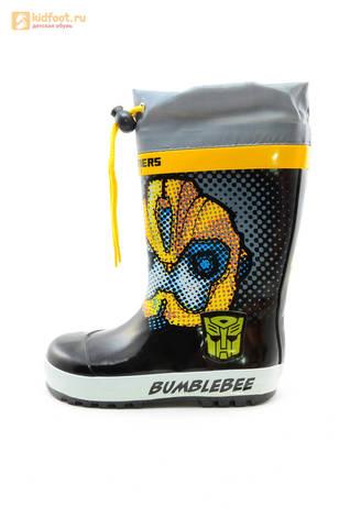 Резиновые сапоги Трансформеры (Transformers) на шнурках для мальчиков, цвет черный. Изображение 3 из 10.