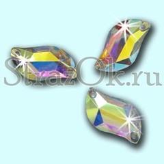 Стразы пришивные с радужным покрытием акриловые S-Shape Crystal AB, С-Шэйп Кристал АБ прозрачный на StrazOK.ru