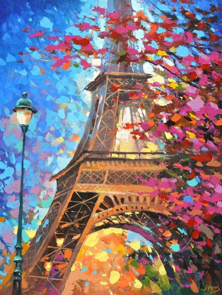 Картина раскраска по номерам 40x50 Эйфелева Башня в цветах ...