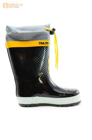 Резиновые сапоги Трансформеры (Transformers) на шнурках для мальчиков, цвет черный. Изображение 4 из 10.