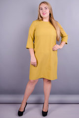 Вирта. Универсальное платье больших размеров. Горчица.