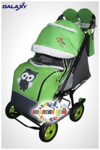 Санки коляска GALAXY CITY-1 «зеленый с совой»