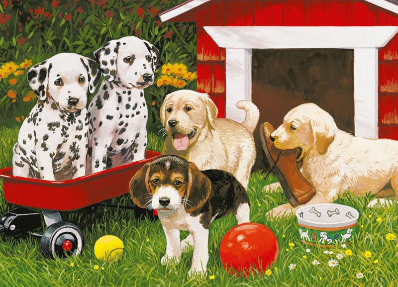 Картина раскраска по номерам 40x50 Щенячьи игры– купить в ...
