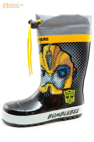 Резиновые сапоги Трансформеры (Transformers) на шнурках для мальчиков, цвет черный. Изображение 1 из 10.