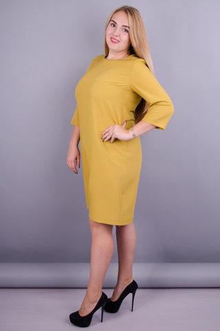 Вірта. Сукня для жінок великих розмірів. Гірчиця.