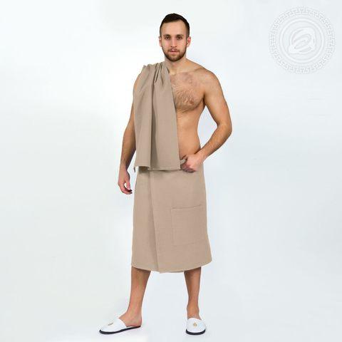Набор для бани и сауны мужской бежевый вафельное полотно