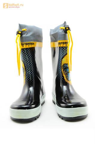 Резиновые сапоги Трансформеры (Transformers) на шнурках для мальчиков, цвет черный. Изображение 5 из 10.
