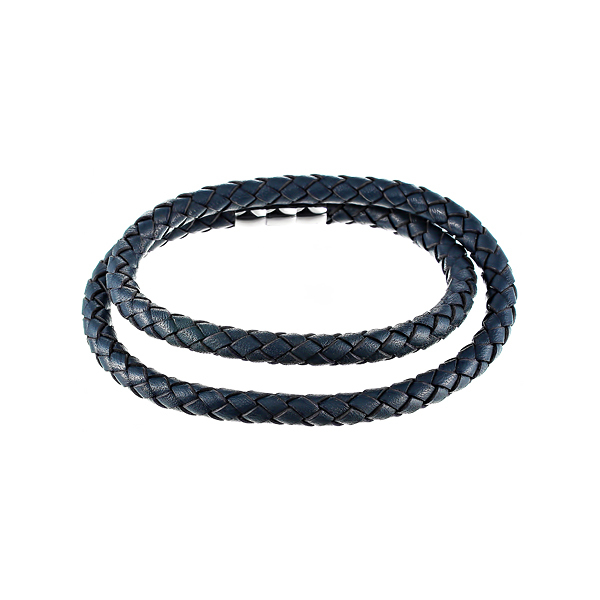 Кожаный браслет намотка синий JV SB1773