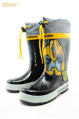 Резиновые сапоги Трансформеры (Transformers) на шнурках для мальчиков, цвет черный. Изображение 6 из 10.