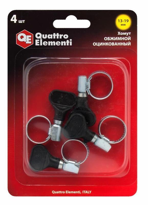 Хомут обжимной QUATTRO ELEMENTI 13-19 мм, оцинкованный, с ключом, 4 шт в блистере (772-432)