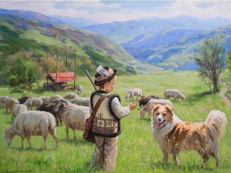 Картина раскраска по номерам 40x50 Маленький пастух ...