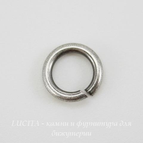 Винтажное колечко одинарное 8,4х1,5 мм (оксид серебра) ()