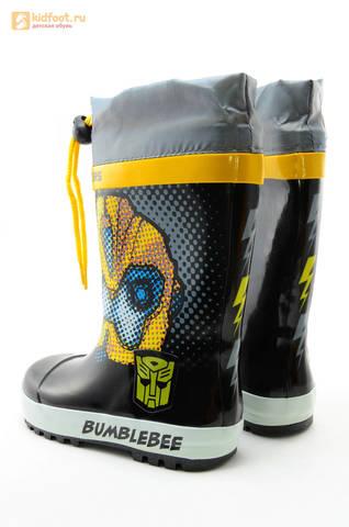 Резиновые сапоги Трансформеры (Transformers) на шнурках для мальчиков, цвет черный. Изображение 7 из 10.