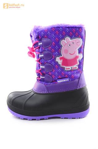 Зимние сапоги для девочек непромокаемые с резиновой галошей Свинка Пеппа (Peppa Pig), цвет сиреневый, Water Resistant. Изображение 3 из 15.