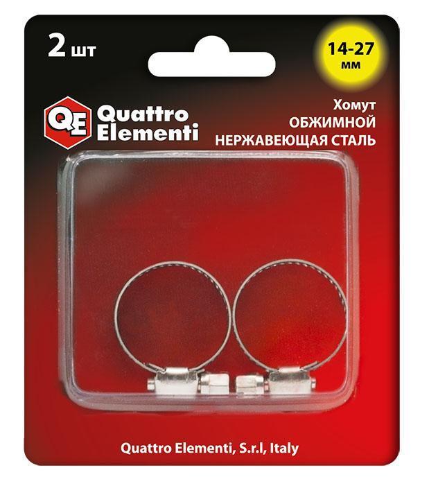 Хомут обжимной QUATTRO ELEMENTI 14-27 мм, нержавеющая сталь, 2 шт, в блистере