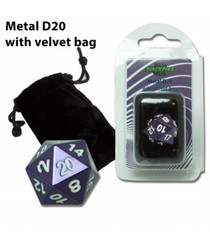 D20 Metal with velvet bag - Purple