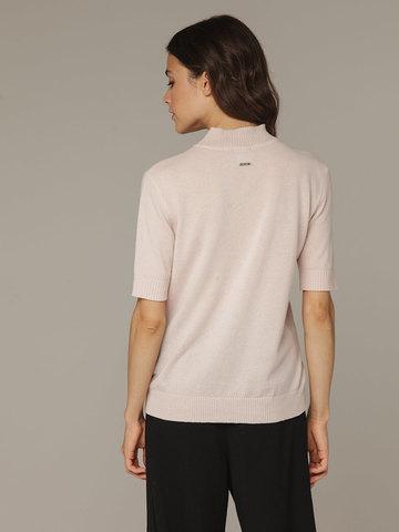 Розовый джемпер из тонкого кашемира с коротким рукавом и стойкой - фото 2