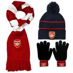 Комплект вязаная шапка с помпоном, шарф и перчатки с логотипом ФК Арсенал (Arsenal) черный