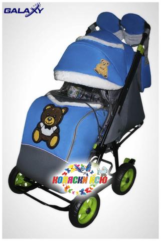 Санки коляска GALAXY CITY-1 «синий с медведем»