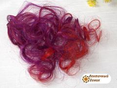 Пряди для бантиков крупный локон красно-фиолетовый (пучок опт)