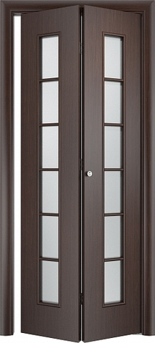 Дверь складная Верда С-12 (2 полотна), белое матовое, цвет венге, остекленная