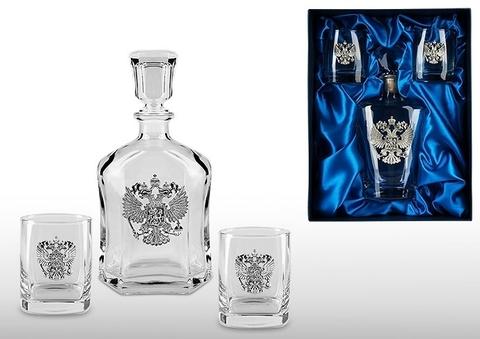 Подарочный набор для виски и рома с графином «Россия»