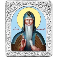 Святой Геннадий. Маленькая икона в серебряной раме.