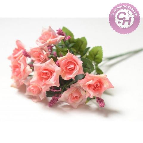 Розы искусственные остроконечные, букет 5 веток, 10 голов, 26 см.